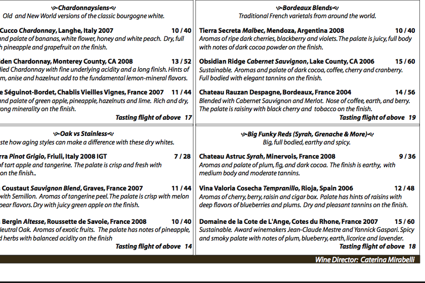 a snippet of the wine menu at District Wine Bar